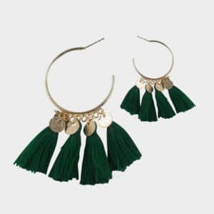 Boucles d'oreilles bohème dorée avec frange verte